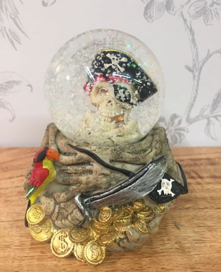 Pirate Skull with Parrot Snow Globe Glitter Ball